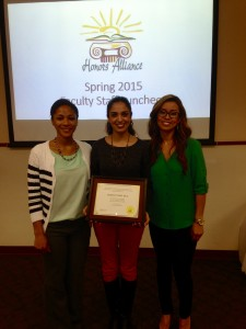 Lilian Cano, Lecturer II in Spanish, received the Outstanding UTSA Faculty Member Award from the Honor's Alliance